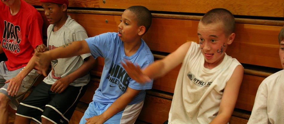 NBC Camps younger basketball players at Intensity station